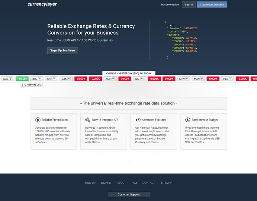currencylayer - free currency converter API